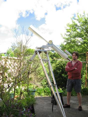 Vaughn and the Refractor in the back garden.